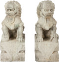 Asian:Chinese, A PAIR OF CHINESE CARVED STONE FOO DOGS, 19th century. 27-1/2inches high (69.9 cm). ... (Total: 2 Items)