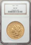 Liberty Double Eagles, 1861 $20 AU50 NGC....