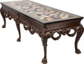 Furniture : English, A GEORGE II-STYLE CARVED MAHOGANY MARBLE TOP SPECIMEN TABLE, early 20th century. 33 x 108 x 38-1/2 inches (83.8 x 274.3 x 97...