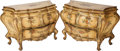 Furniture : Continental, A PAIR OF ITALIAN ROCOCO-STYLE PAINTED WOOD BOMBÉ COMMODES, circa1900. 32-1/2 x 47-1/2 x 19 inches (82.6 x 120.7 x 48.3 cm)...(Total: 2 Items)