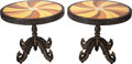 Decorative Arts, American, A PAIR OF ANGLO-INDIAN STYLE INLAID SPECIMEN AND EBONIZED WOOD CENTER TABLES, 20th century. 31 inches high x 36 inches diame... (Total: 2 Items)