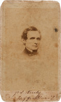 "Photography:CDVs, Jefferson Davis Pre-Civil War Carte de Visite Signed ""Jeffer. Davis""...."