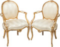 Furniture : French, A PAIR OF LOUIS XV-STYLE GILT WOOD UPHOLSTERED FAUTEUILS, early 20th century. 36 x 23 x 17 inches (91.4 x 58.4 x 43.2 cm). ... (Total: 2 Items)