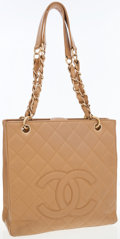 Luxury Accessories:Bags, Chanel Beige Quilted Caviar Leather Tote Bag with Gold Hardware ....