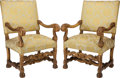 Furniture : Continental, A PAIR OF CONTINENTAL BAROQUE-STYLE PARCEL GILT UPHOLSTEREDARMCHAIRS, early 20th century. 36 x 23 x 17 inches (91.4 x 58.4 ...(Total: 2 Items)