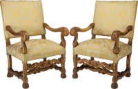 A PAIR OF CONTINENTAL BAROQUE-STYLE PARCEL GILT UPHOLSTERED ARMCHAIRS, early 20th century 36 x 23 x 17 inches (91