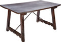 Furniture : Continental, A SPANISH BAROQUE WALNUT AND WROUGHT IRON TRESTLE TABLE, 17th century and later. 30 x 58 x 32-3/4 inches (76.2 x 147.3 x 83....