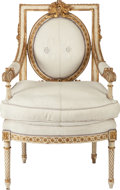 Furniture : French, A LOUIS XVI-STYLE PAINTED WOOD AND PARCEL GILT UPHOLSTEREDFAUTEUIL, 19th century. 39-1/2 x 25 x 22 inches (100.3 x 63.5 x5...