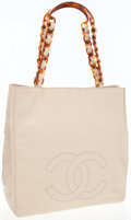 Luxury Accessories:Bags, Chanel Beige Lambskin Leather Tote Bag with Tortoise Chain Straps ....