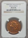 Argentina, Argentina: Republic 2 Centavos Essai in copper 1878 MS65 Red and Brown NGC,...