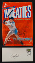 Baseball Collectibles:Others, Cal Ripken Jr. Signed Wheaties Box and First Day Cover....