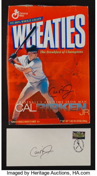 Baseball CollectiblesOthers Cal Ripken Jr Signed Wheaties Box And First Day Cover