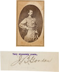 "Photography:CDVs, Confederate General John Brown Gordon Carte de Visite and Clipped Signature ""J. B. Gordon"".... (Total: 2 )"