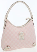 Luxury Accessories:Bags, Gucci Pink Classic Monogram Canvas & White Leather Shoulder Bag. ...