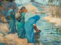 Fine Art - Painting, European:Modern  (1900 1949)  , HENRI JEAN PONTOY (French, 1888-1968). Water Carriers. Oilon canvas. 28-3/4 x 39-1/2 inches (73.0 x 100.3 cm). Signed l...