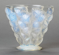 A LALIQUE OPALESCENT GLASS MOISSAC FOOTED VASE, post 1945 Stenciled: LALIQUE