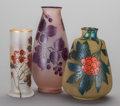 Art Glass:Other , A GROUP OF THREE FRENCH GLASS VASES, 20th century. 10-3/8 incheshigh (26.4 cm) (tallest). ... (Total: 3 Items)