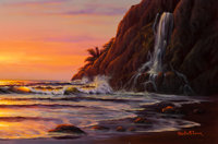 CHRISTIAN RIESE LASSEN (American, b. 1949) Sunlit Waves and a Waterfall Acrylic on board 24 x 36