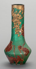 Art Glass:Other , A FRENCH GLASS OVERLAY AND ETCHED VASE WITH GILT METAL MOUNTS, 20thcentury. Marks: VS, (ship). 16 inches high (40.6 cm)...