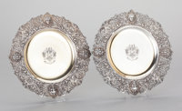 TWO VICTORIAN SILVER AND SILVER GILT DESSERT PLATES, C. J. Vander Ltd., London, England, circa 1903-1905 Marks to