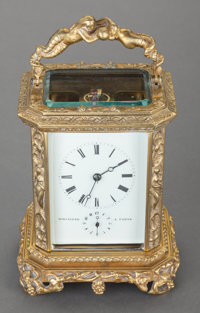 A FRENCH GILT BRONZE CARRIAGE CLOCK WITH REPEATER, Bolviller, Paris, circa 1850 Marks: BOLVILLER, A PARIS</