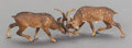 Bronze:European, AN AUSTRIAN COLD PAINTED BRONZE FIGURAL GROUP OF STAGS, circa 1920. 2 x 8 x 2 inches (5.1 x 20.3 x 5.1 cm). ...