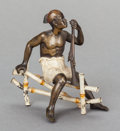 Sculpture, AN AUSTRIAN COLD PAINTED BRONZE FIGURE, After Franz Xavier Bergman, circa 1880. 5 x 5 x 3 inches (12.7 x 12.7 x 7.6 cm). ...