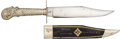 Edged Weapons:Knives, Pristine Condition, Superb Quality, Silver Cutlery Handle Sheffield Bowie Knife...