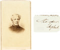 Photography:CDVs, Confederate General Samuel Cooper: Carte de Visite andClipped Signature.... (Total: 2 Items)