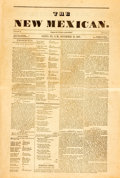Miscellaneous:Newspaper, [Newspaper]. Facsimile Reprint of The New Mexican. November24, 1849. Four pages, folded. Very good. . ...