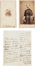 Photography:CDVs, General Marsena R. Patrick: Two Cartes de Visite, One Signed, and Document Signed.... (Total: 3 )