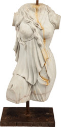 Paintings, A CARVED MARBLE TORSO OF A DRAPED FEMALE, AFTER THE ANTIQUE, 19th century. 32 inches high (81.3 cm) (including base). ...