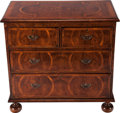 Furniture : American, A QUEEN ANNE MAHOGANY AND FRUITWOOD INLAID CHEST OF DRAWERS, 18thcentury and later. 32-3/4 x 33-1/2 x 18-1/4 inches (83.2 x...