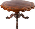 Furniture : Continental, A CONTINENTAL MAHOGANY AND FRUITWOOD MARQUETRY TILT-TOP TABLE,first quarter 20th century. 31 x 51-1/2 x 51-1/2 inches (78.7...