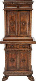 Furniture : Continental, AN ITALIAN BAROQUE WALNUT CABINET IN TWO PARTS, 17th century. 67 x27-1/2 x 18 inches (170.2 x 69.9 x 45.7 cm). ... (Total: 2 Items)