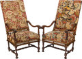 Furniture : French, A PAIR OF BAROQUE-STYLE NEEDLEPOINT UPHOLSTERED ARMCHAIRS, 20th century. 46-3/4 x 25 x 21 inches (118.7 x 63.5 x 53.3 cm). ... (Total: 2 Items)