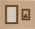 Autographs:U.S. Presidents, Mary Todd Lincoln Autograph Letter Signed and Carte deVisite....