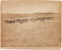 """Large Albumen Photograph of the First New York and Battery """"D"""" Before the Town of Fredericksburg"""