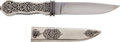 Edged Weapons:Knives, Engraved San Francisco Style Bowie Knife by Tom Ferry with Sheath....