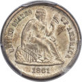 Seated Dimes, 1861-S 10C MS64 PCGS. CAC....