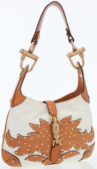Gucci Canvas & Leather Jackie Shoulder Bag with Gold Stud Accents