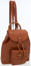 Luxury Accessories:Bags, Gucci Tan Leather Mini Drawstring Backpack with Bamboo Handle. ...