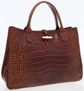 Luxury Accessories:Bags, Longchamp Brown Leather Roseau Croco Tote Bag. ...
