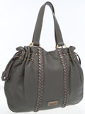 Luxury Accessories:Bags, Jimmy Choo Gray Leather Shoulder Bag with Metallic Braided LeatherDetail. ...
