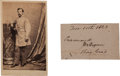 Autographs:Military Figures, Confederate General John Pegram Clipped Signature and Carte de Visite.... (Total: 2 Items)