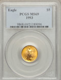 Modern Bullion Coins: , 1993 G$5 Tenth-Ounce Gold Eagle MS69 PCGS. PCGS Population (1117/15). NGC Census: (1455/162). Mintage: 210,709. Numismedia ...