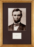 Autographs:U.S. Presidents, Abraham Lincoln Signature....