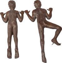 VICTOR SALMONES (Mexican, 1937-1989) Two Climbing Boys (pair) Bronze with brown patina 56 inches