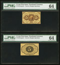 Fractional Currency:First Issue, Fr. 1231SP 5¢ First Issue Narrow Margin Pair PMG ChoiceUncirculated 64.. ... (Total: 2 notes)