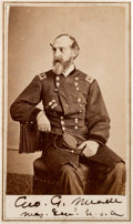 "Photography:CDVs, Union Major General George Gordon Meade: Alexander Gardner Carte de Visite Signed ""Geo. G. Meade / Maj. Genl ..."